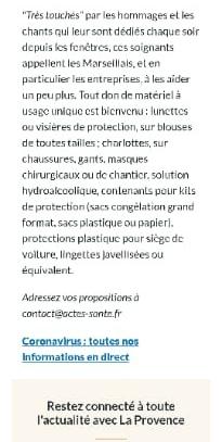 ACTES-Santé a fait un appel aux dons publié sur le site de La Provence